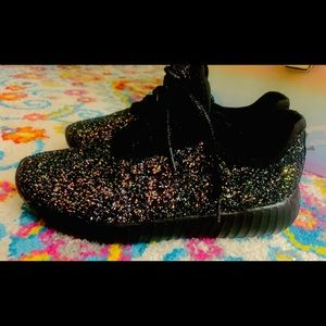 Shoes - Black Rainbow Glitter Sneakers!!!!